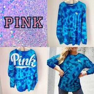 PINK tie dye varsity crew neck sweatshirt